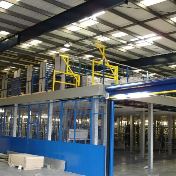 Pallet loading gate and mezzanine floor